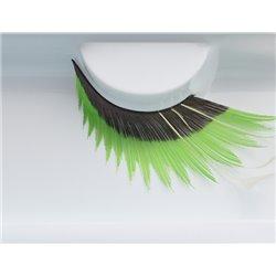 Effektwimpern, grün-schwarz mit weißen Federn