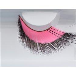 Effektwimpern, pink-schwarz mit schwarzen Federn