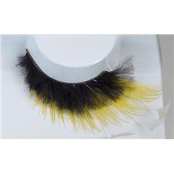 Effektwimpern, gelb-schwarz mit weißen Federn