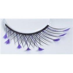 Effektwimpern, schwarz mit lila Federn